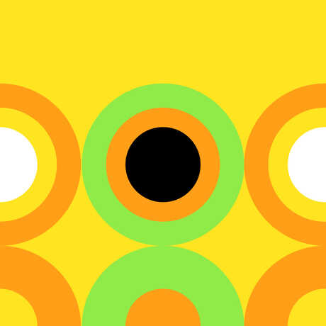 Graphic concentric circles design with yellow background