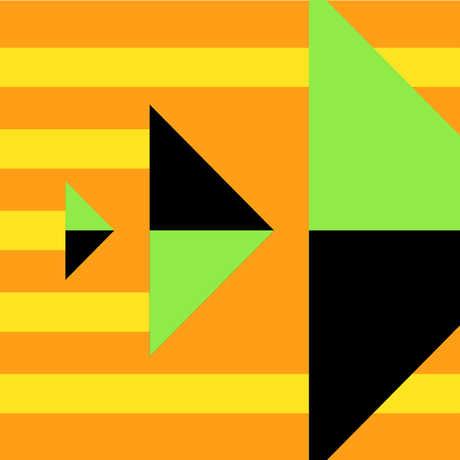 Graphic triangle design with orange background