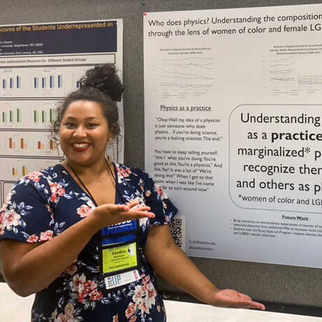 Xandria Quichocho presenting a research poster