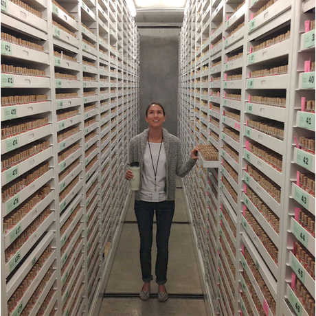 A guest stands between two giant stacks of specimens in our behind the scenes collections.