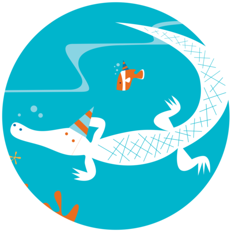 Illustration of Claude the albino alligator wearing a party hat
