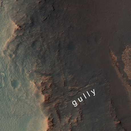 The gully Opportunity will traverse, NASA/JPL-Caltech/Univ. of Arizona