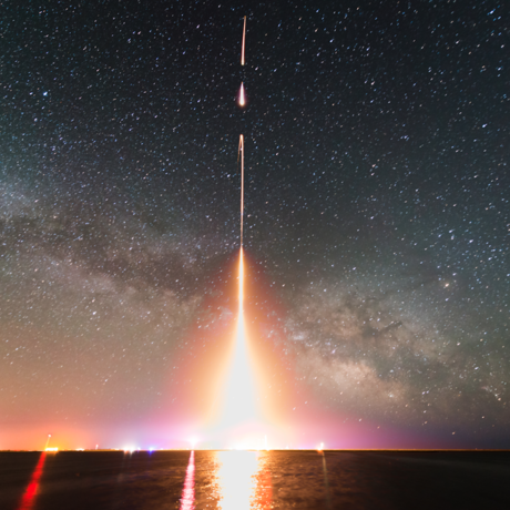 Time-lapse photograph of a Cosmic Infrared Background Experiment (CIBER) rocket launch