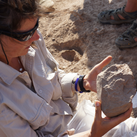 Scientist Sonia Harmand with tool evidence at site