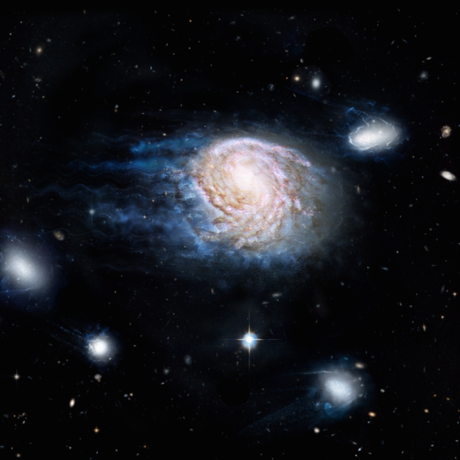 An artist's impression of ram-pressure stripping of galaxy NGC 4921