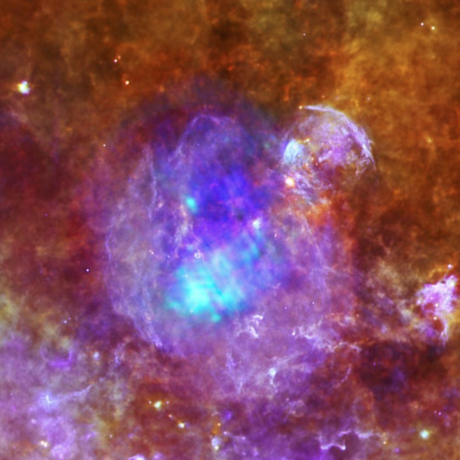 Combined X-ray and infrared image of W44 from Herschel SPIRE/PACS/ESA and ESA/XMM-Newton