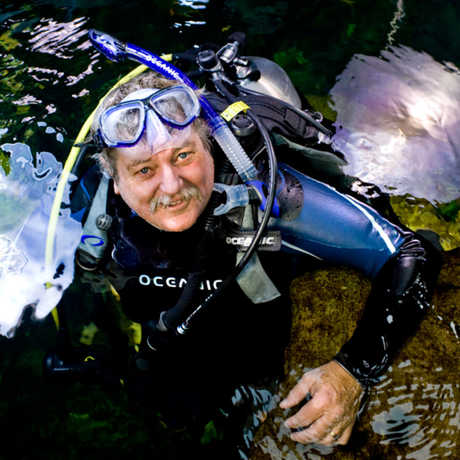 Terry Gosliner in scuba gear