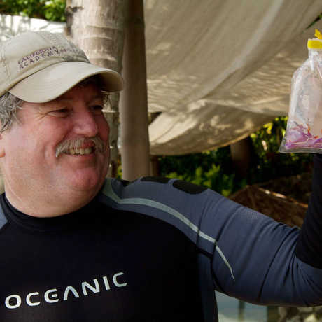 Terry Gosliner with a new species of nudibranch