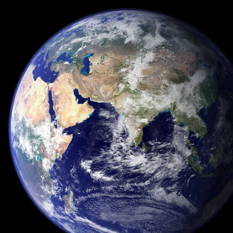 Earth looking at Asian continent