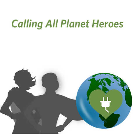Planet Earth with male and female superheroes
