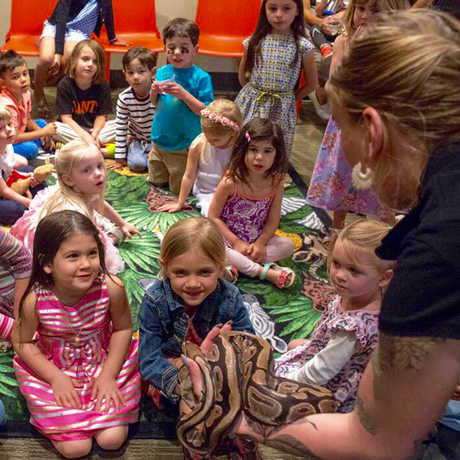 Birthday party guests examine a python held by an Academy of Sciences staff member