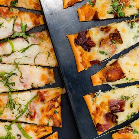 Sliced cheesy flatbreads at the Terrace Restaurant