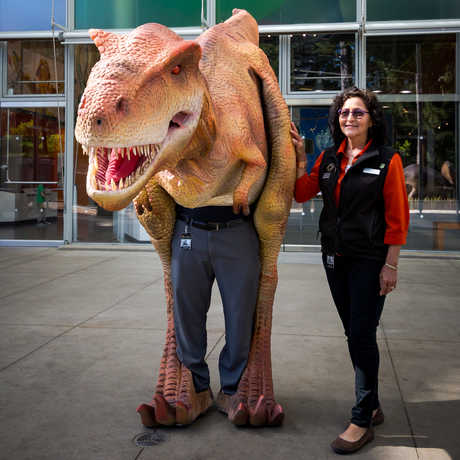 A realistic Tyrannosaurus rex costume worn by an Academy staff person, accompanied by a handler