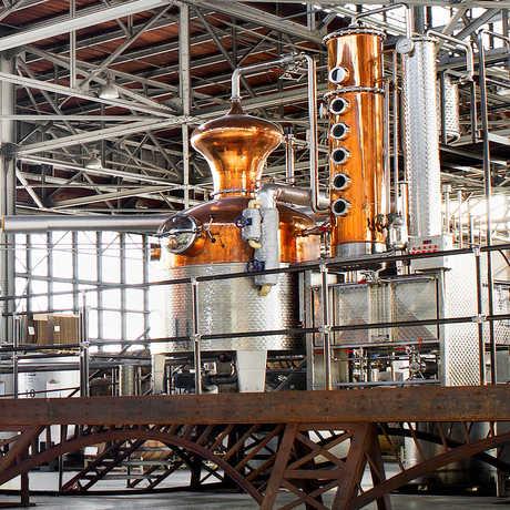 The copper stills at St. George Spirits