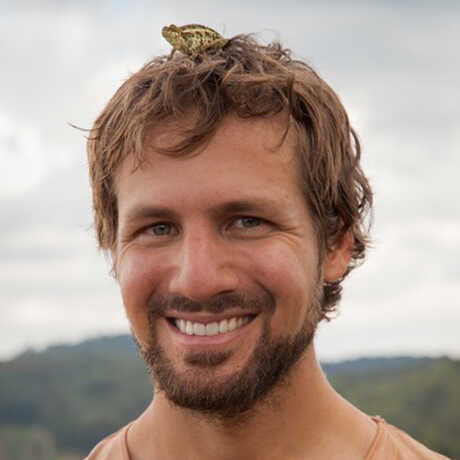 Marcus Westberg with a chameleon on his head