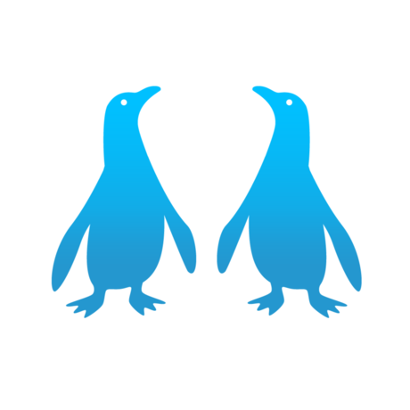 Pocket Penguins logo features two stylized blue penguins face to face