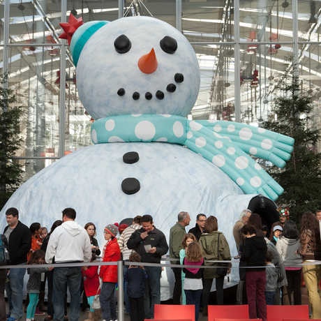 Giant Snowman Theater in Tis the Season for Science exhibit