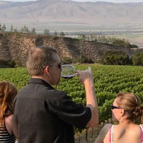 People wine tasting in the Carmel Valley