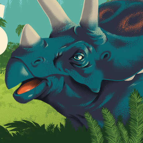 Illustration of horned dinosaur for Dino Days member preview