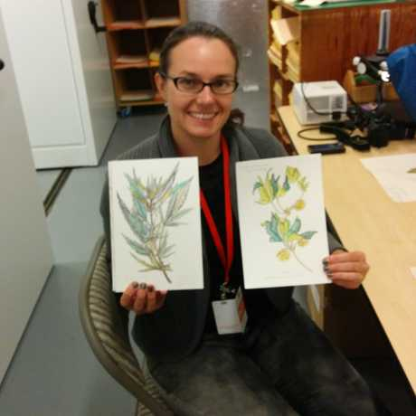 Monika Lea Jones shows off her drawings of herbarium specimens