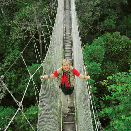 Meg Lowman in the rainforest treetops