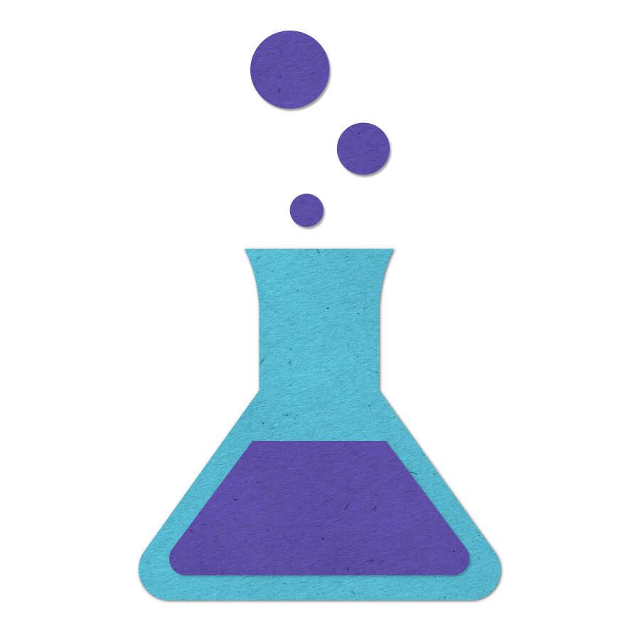 Felt icon of a bubbling chemistry beaker