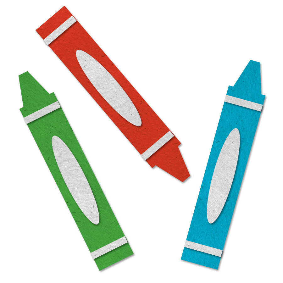 Felt icons of crayons