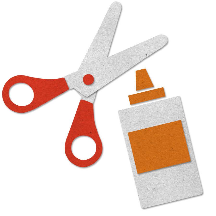 Felt craft icon with scissors and glue