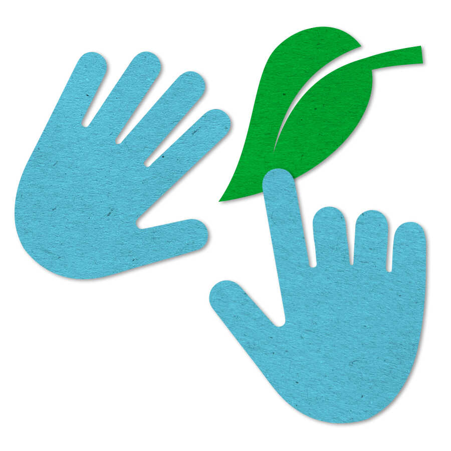 Felt icon of two hands touching a leaf