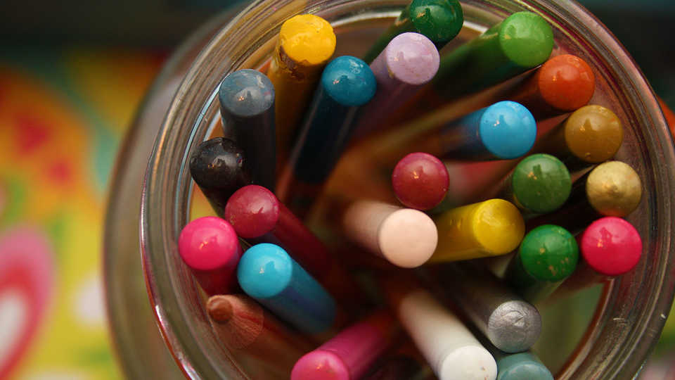 markers in a jar