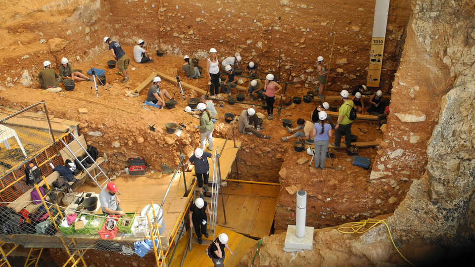 Aerial view of Sierre de Atapuerca archaeological dig site