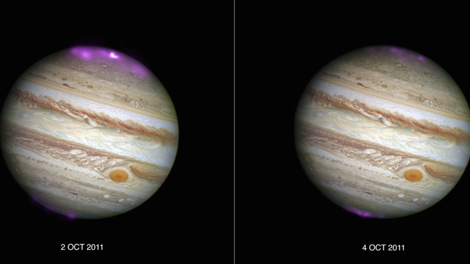 Aurorae on Jupiter, Image credit: X-ray: NASA/CXC/UCL/W.Dunn et al, Optical: NASA/STScI