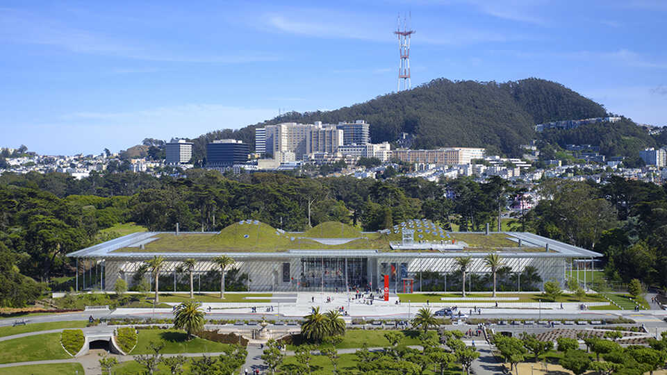 Exterior aerial shot of the California Academy of Sciences