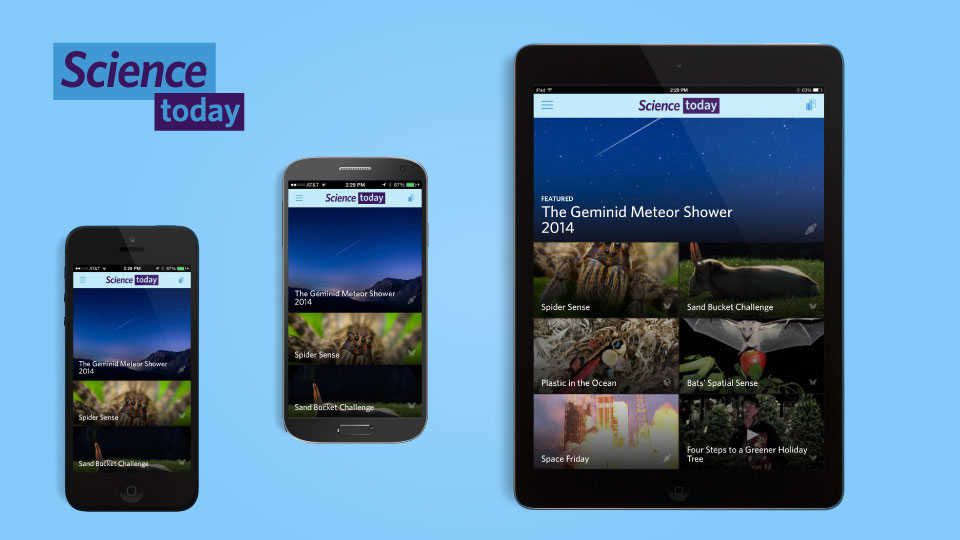 Science Today mobile app images on 3 mobile devices
