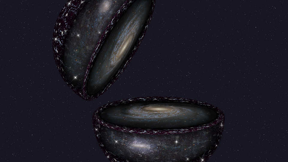 Artistic impression of of the 3D Universe that SDSS-V will explore, looking outward from Earth to distant galaxies.