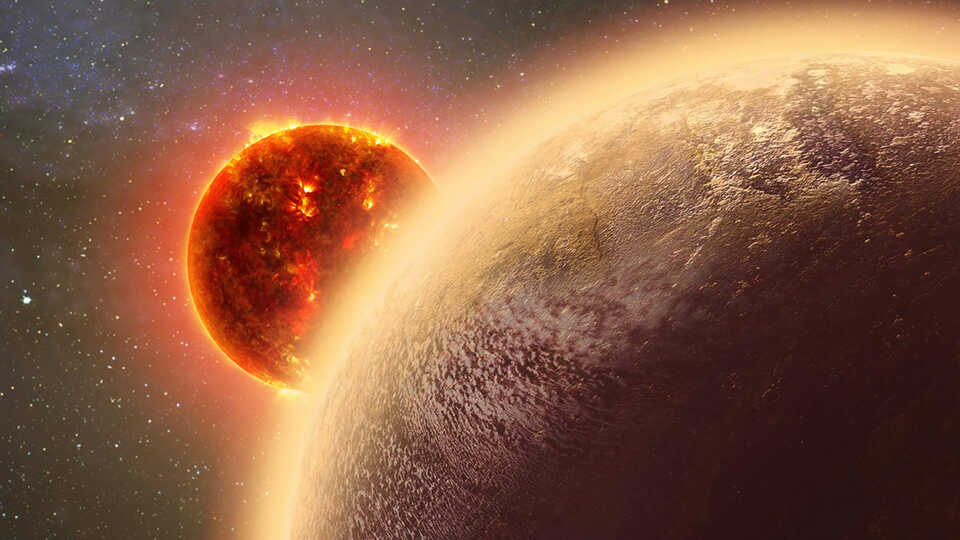 An artistic representation of Gliese 1132b, a planet  orbiting a red dwarf star.