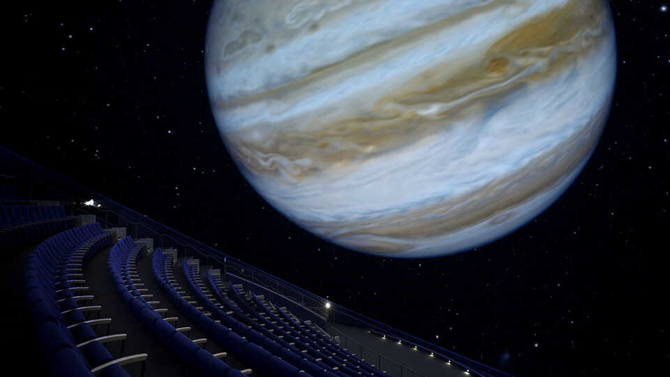 A planet on-screen at the Morrison Planetarium