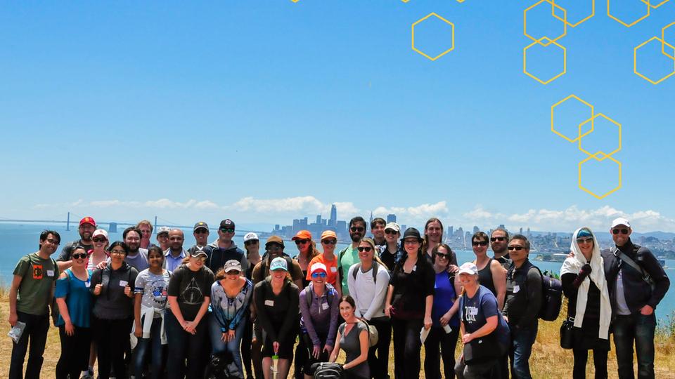 Group photo of Hive members on Angel Island